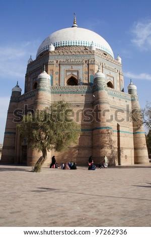 Shrine of Shah Rukn-e-Alam at Multan - stock photo
