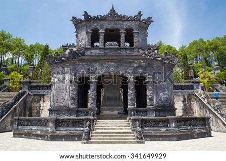 Shrine pavilion  in Imperial Khai Dinh Tomb in Hue, Vietnam - stock photo