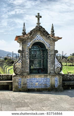 Shrines near the Roman bridge at Ponte de Lima - stock photo