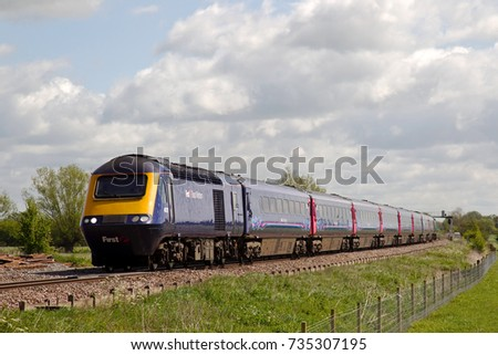 SHRIVENHAM, UK - MAY 5: A GWR operated HST express service heads towards S. Wales on May 5, 2015 in Shrivenham. HST125 trains were built between 1975-82 running at a maximum of 125mph in the UK