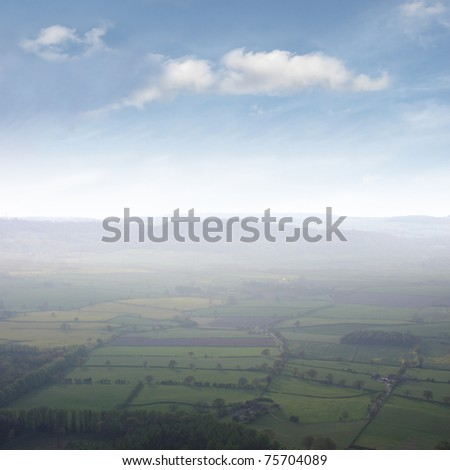Shropshire Aerial View taken at the top of the Wrekin. - stock photo