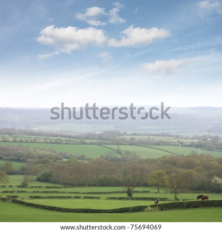 Shropshire countryside, famous for dairy farming. - stock photo