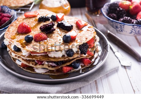 Shrove Tuesday, pancake day, with berry fruits - stock photo