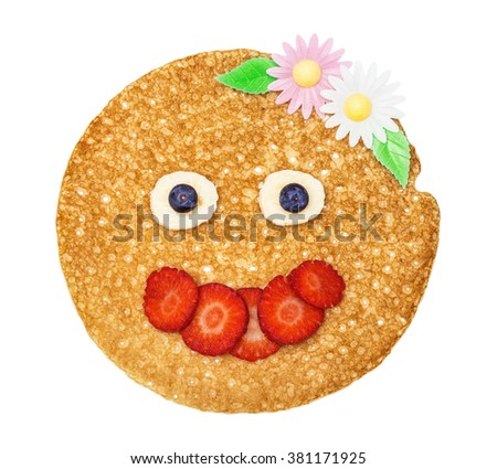 Shrovetide, Maslenitsa, fishnet pancakes, flapjack,slapjack, face, person with strawberry and wafer flowers isolated on the white