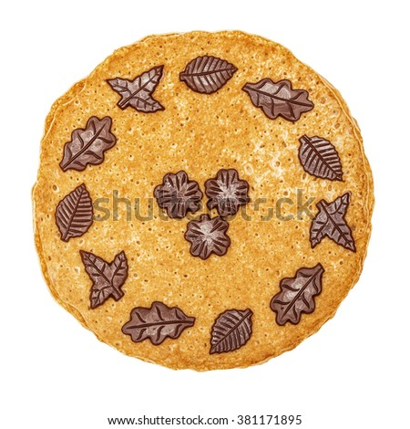 Shrovetide, Maslenitsa, fishnet pancakes, flapjack,slapjack, with chocolate isolated on the white - stock photo
