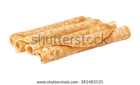 Shrovetide, Maslenitsa, tube fishnet pancakes, flapjack,slapjack,  isolated on the white - stock photo