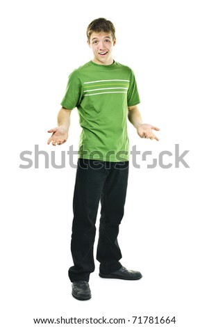 Shrugging young man standing isolated on white background