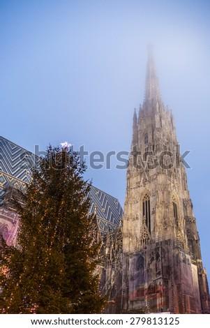 Shtefansdom Cathedral at Christmas, Vienna, Austria - stock photo