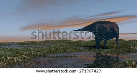 shuangmiaosaurus grazing in grass field - stock photo