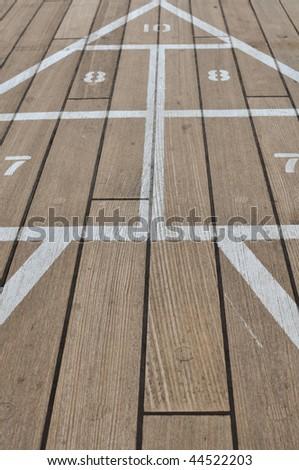 Shuffle Board Game on a Cruise Ship - stock photo