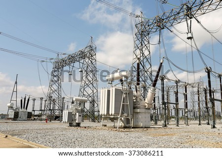 Shunt Reactor Rectangular : maintaining voltage in high voltage station. - stock photo