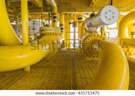 Shut down valve ( SDV ) and sea line pipe, these valve will automatic close when emergency there are install all inlet and outlet process gas and crude oil - stock photo