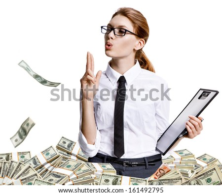 Shut you down baby / studio shoot of beautiful attractive business woman among a lot of paper money - isolated on white background - stock photo