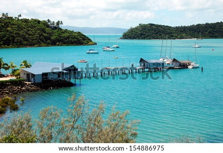 Shute Harbour, Queensland, Australia. Shute Harbour is a sheltered port for small vessels located approximately 10 kilometres east of Airlie Beach on the Whitsunday Coast of Queensland, Australia.  - stock photo