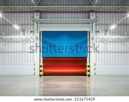 Shutter door or rolling door,blue color, night scene. - stock photo