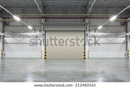 Shutter door or rolling door, brown color, night scene. - stock photo