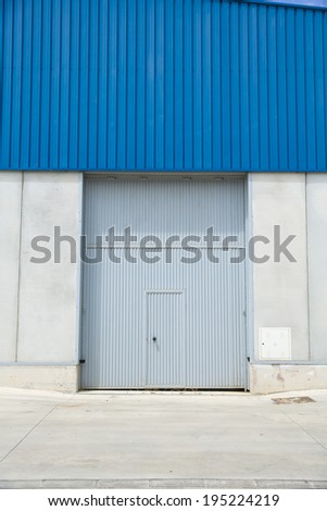Shutter door, outside of factory.
