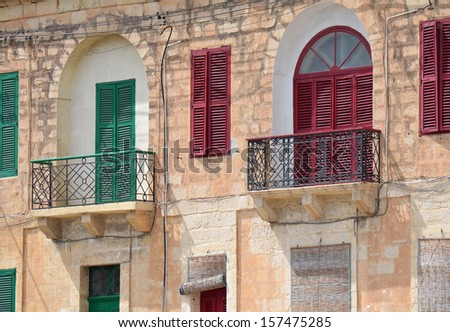 Shuttered Windows in Malta - stock photo