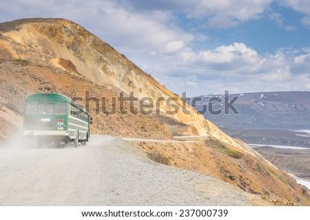 Shuttle bus at Denali national park, Alaska - stock photo