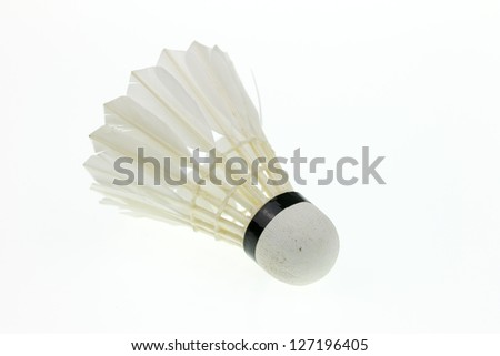 shuttle cock isolated in white background - stock photo
