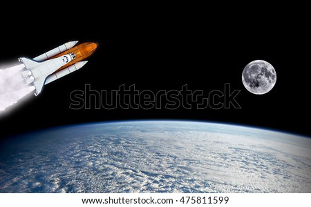 Space shuttle spaceship launch spacecraft planet stock for Outer space elements