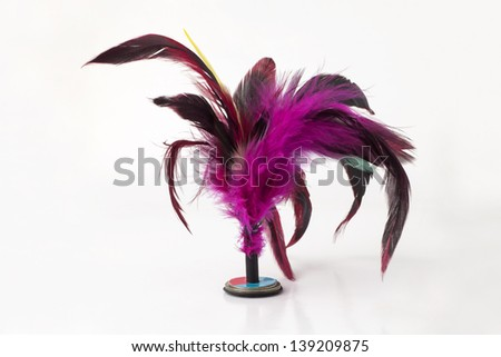 shuttlecock isolated on a white background - stock photo