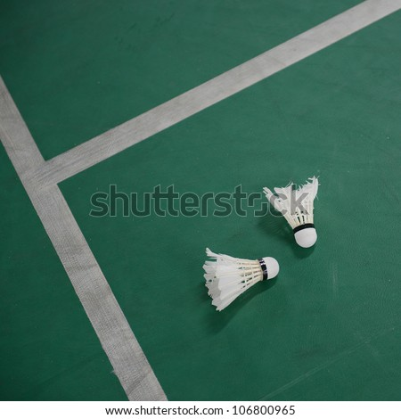 Shuttlecock on the bodminton court floor.