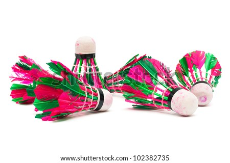 shuttlecock with feathers on a white background - stock photo