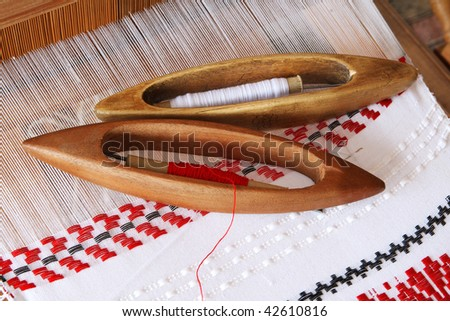 Shuttles and Hungarian  decorative pattern - stock photo