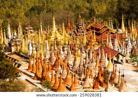 Shwe Inn Thein pagoda at Indein village, Inle Lake, Myanmar  - stock photo