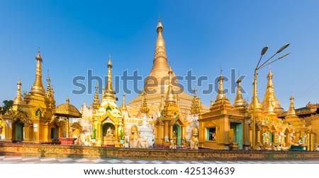 Shwedagon or Great Dagon Pagoda in Yangon. Myanmar. Panorama - stock photo
