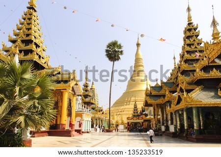 Shwedagon pagoda - stock photo