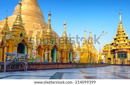 Shwedagon pagoda and temple in Myanmar, Yangon. Golden stupa in Burma - stock photo
