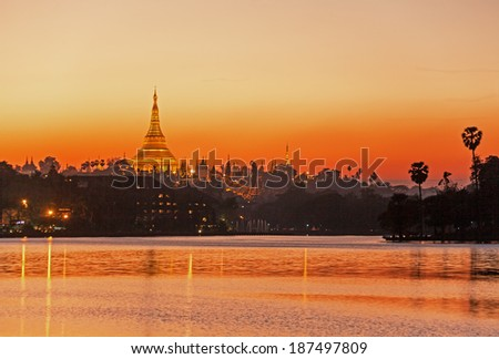 Shwedagon Pagoda at sunset. Yangon, Myanmar. Canon 5D Mk II. - stock photo