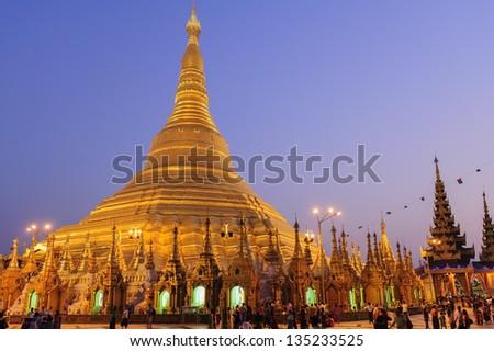 Shwedagon pagoda by night - stock photo
