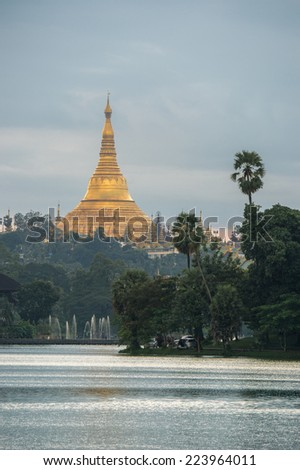 Shwedagon pagoda in sunset , Yangon city myanmar - stock photo