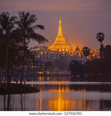 Shwedagon Pagoda in twilight. Yangon, Myanmar (Burma) - stock photo