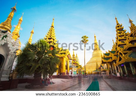 Shwedagon pagoda in Yagon, Myanmar. - stock photo