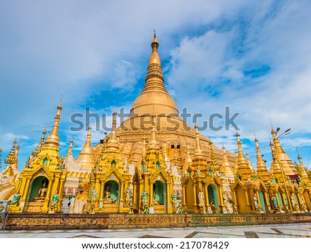 Shwedagon pagoda in Yangon, Myanmar (Burma) They are public domain or treasure of Buddhism, no restrict in copy or use  - stock photo