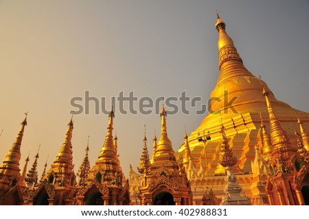 Shwedagon Pagoda in Yangon ,Myanmer - stock photo