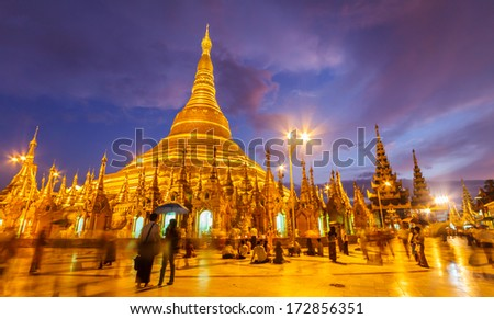 Shwedagon pagoda Myanmar - stock photo
