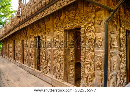 Shwenandaw Monastery (Golden Palace Monastery), a historic Buddhist monastery located in Mandalay Region, Myanmar