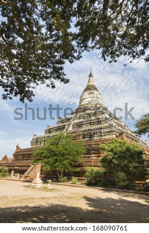 Shwesandaw Pagoda, this Buddhist pagoda was built by King Anawrahta in 1057, Bagan, Myanmar, Southeast Asia - stock photo