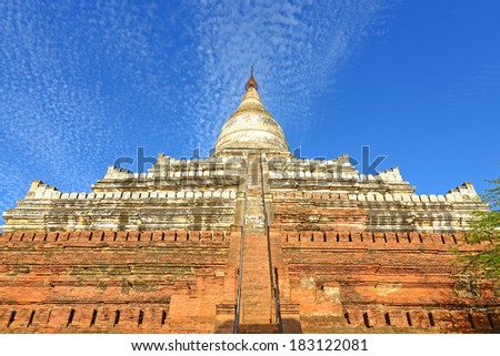 Shwesandaw Paya is a Buddhist pagoda in Bagan, Myanmar that was built by King Anawrahta in 1057 and sacred hairs of Gautama Buddha are enshrined within it. - stock photo