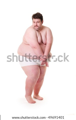 Shy and sexy extreme fat guy isolated on white. - stock photo