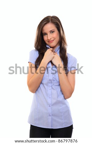 shy brunette young woman - stock photo