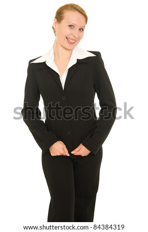 Shy businesswoman on a white background. - stock photo
