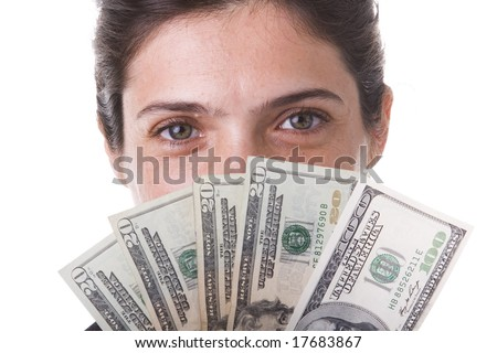 shy businesswoman showing the money she win - stock photo