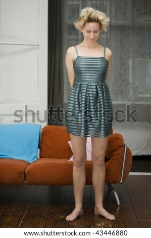 shy girl showing dress