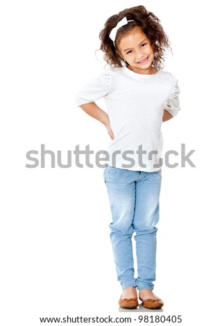 Shy little girl posing - isolated over a white background - stock photo